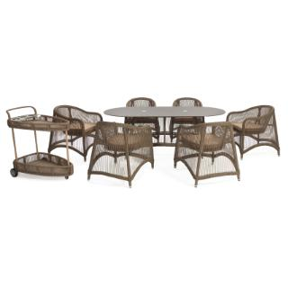 Aria 8 pieces oval dining set